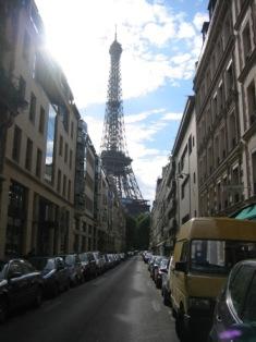 Eiffel Tower view from Paris streetِ