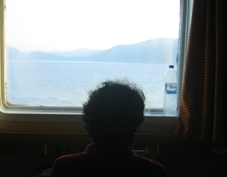 view from cabin on a ferry in Greece