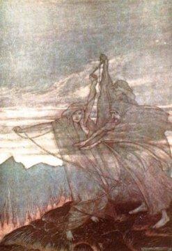 Nordic godess Urd chaining victim